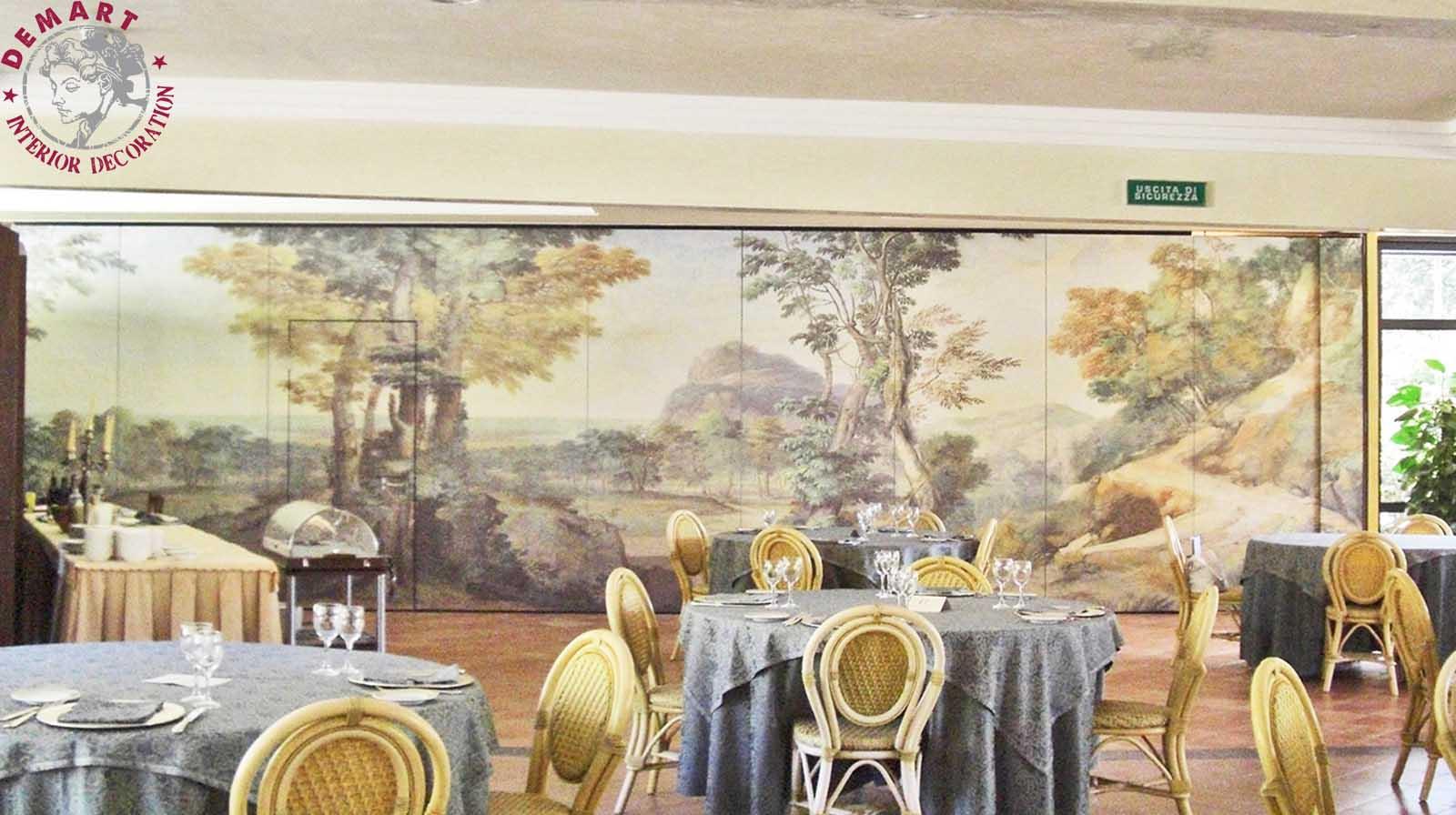 affresco-decorazione-parete-ristorante-hotel-della-valle-agrigento