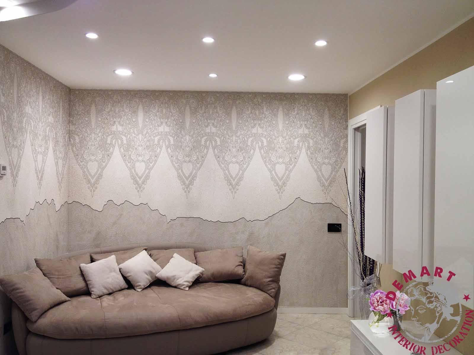 Decorazione parete affresco digitale soggiorno privato u demart