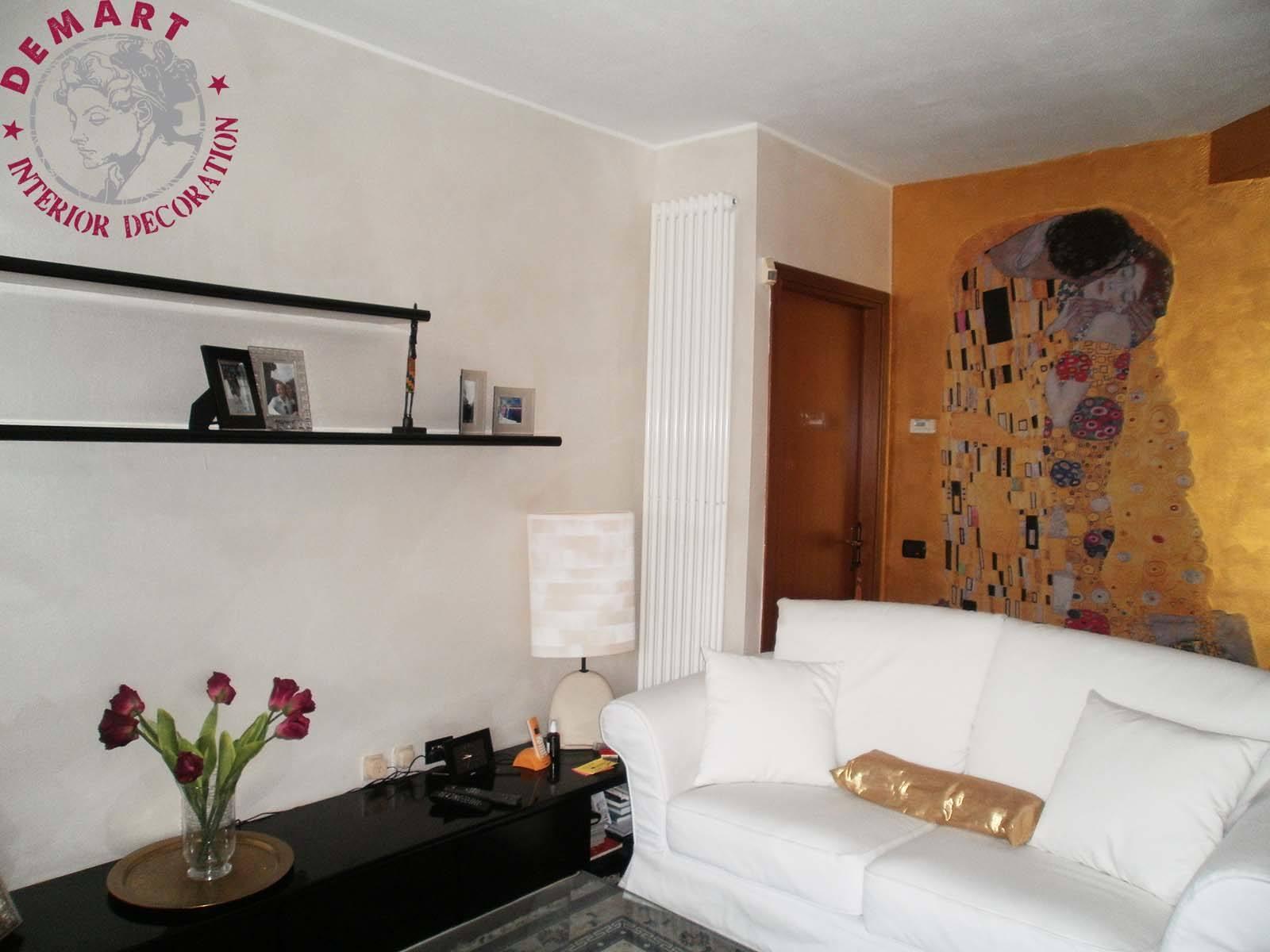 Decorazione parete affresco digitale soggiorno privato kandinsky