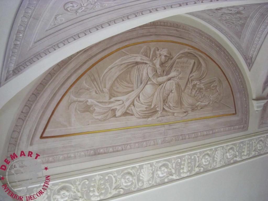 Decorazione pareti e soffitto per ingresso scala e camere da