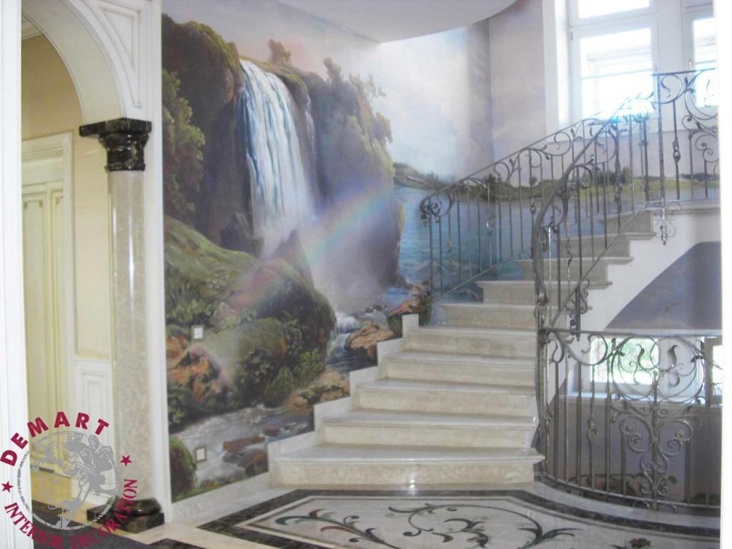 Decorazione d 39 interni per pareti villa su tre piani lugano - Decorazioni per scale interne ...