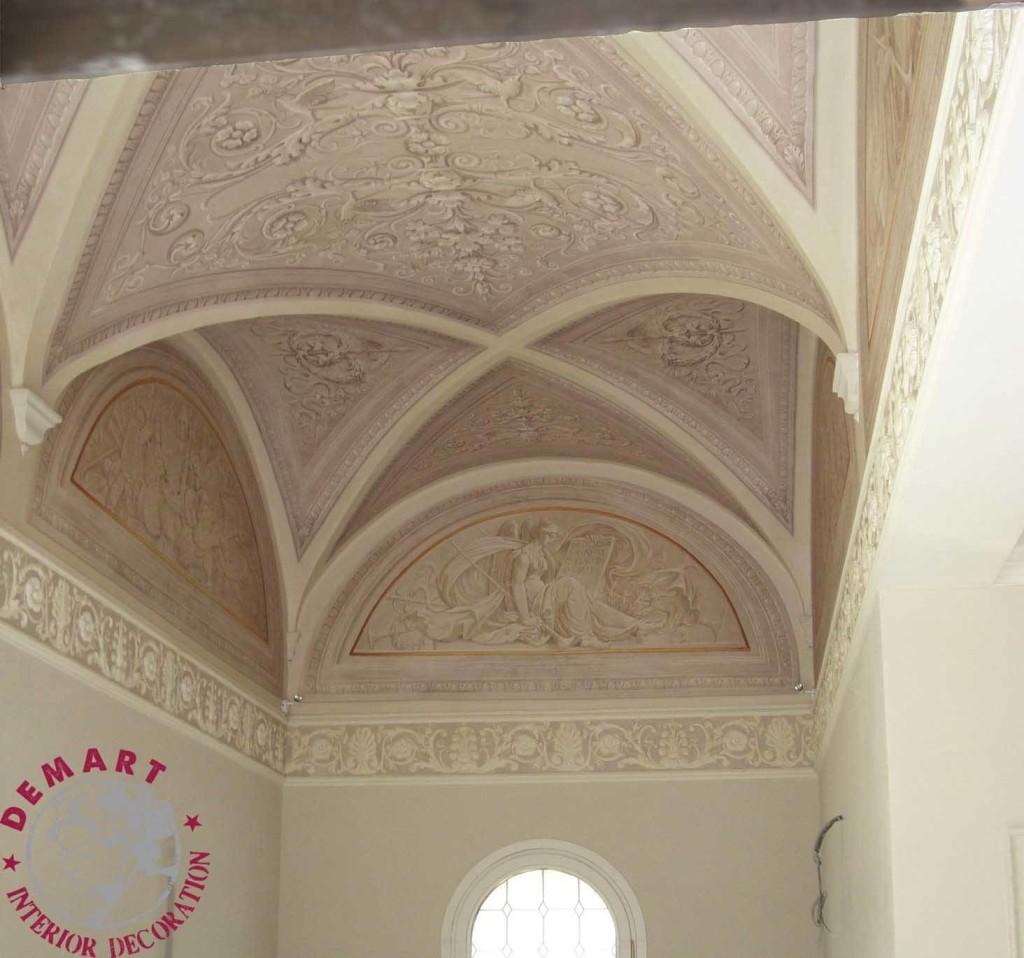 Decorazione pareti e soffitto per ingresso, scala e camere da letto, Ferrara