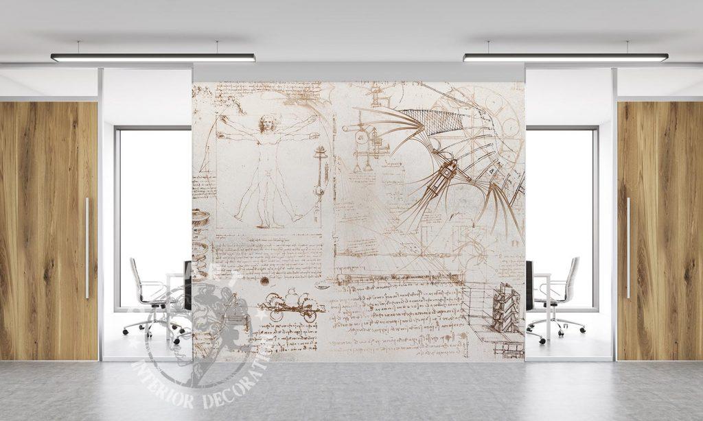 carta-parati-codice-leonardo-da-vinci-parete-ufficio