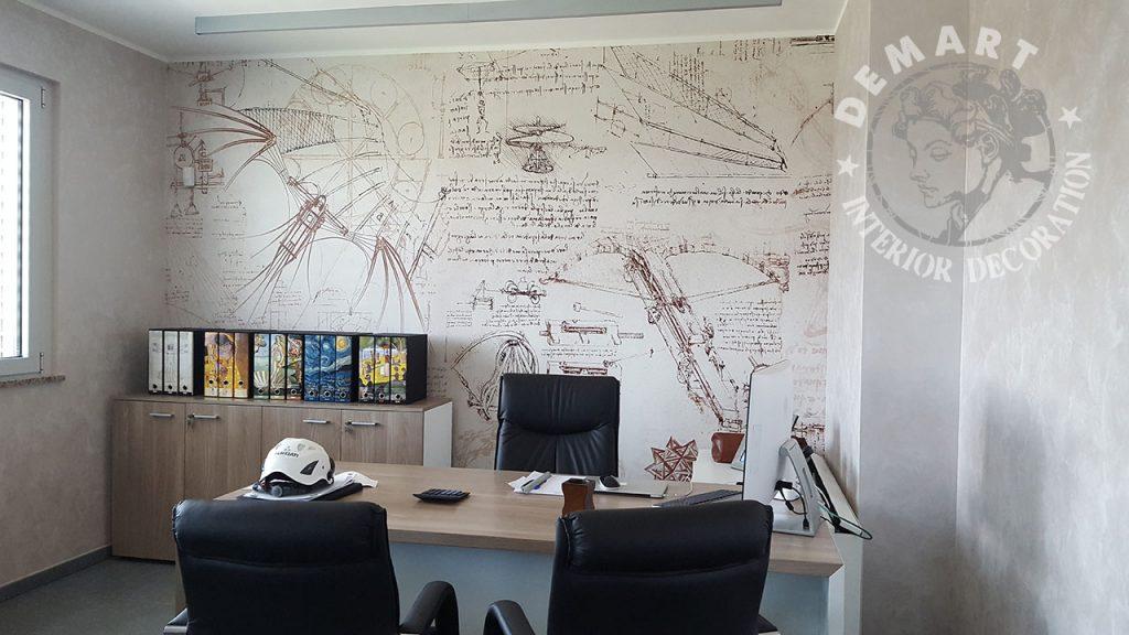 carta-parati-codice-leonardo-da-vinci-parete-studio