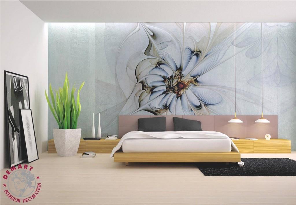 carta-parati-fiore-grande-colori-freddi-azzurro-verde-viola-camera-letto