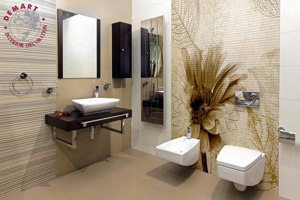 carta-parati-margherita-foglie-sfondo-beige-effetto-muro-rovinato-bagno