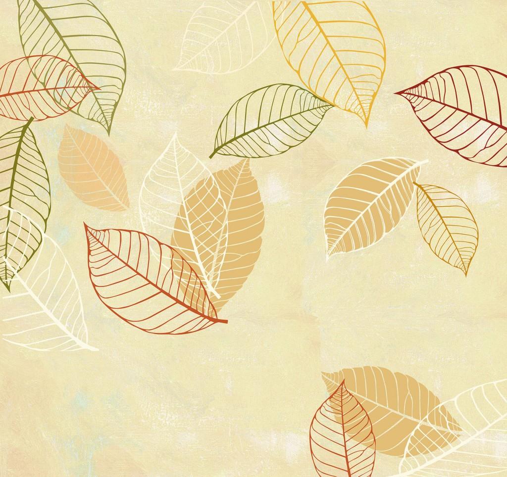 carta-parati-foglie-autunno-stilizzate-colori-caldi-sfondo-beige-giallo-ocra