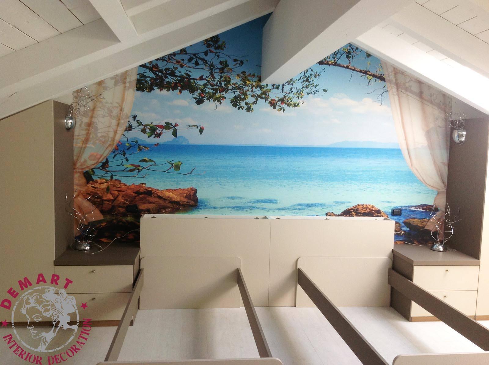 Decorazione interni per attico a tema paesaggi calabria for Parete dietro letto