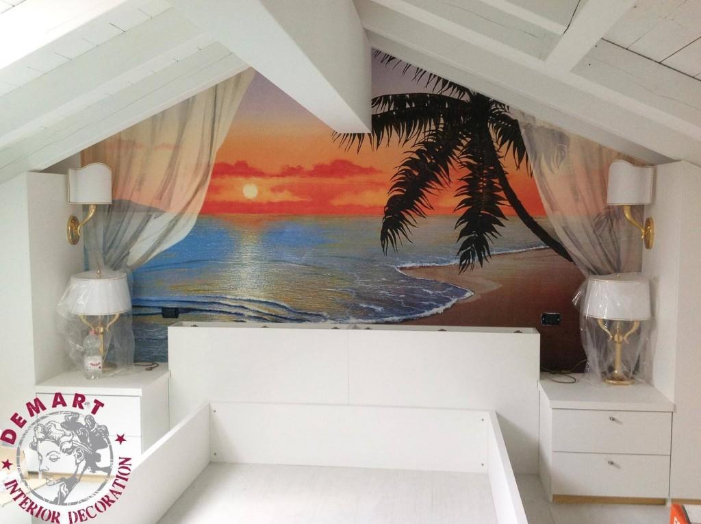 Decorazione soffitto salone con grande affresco trompe l for Parete letto