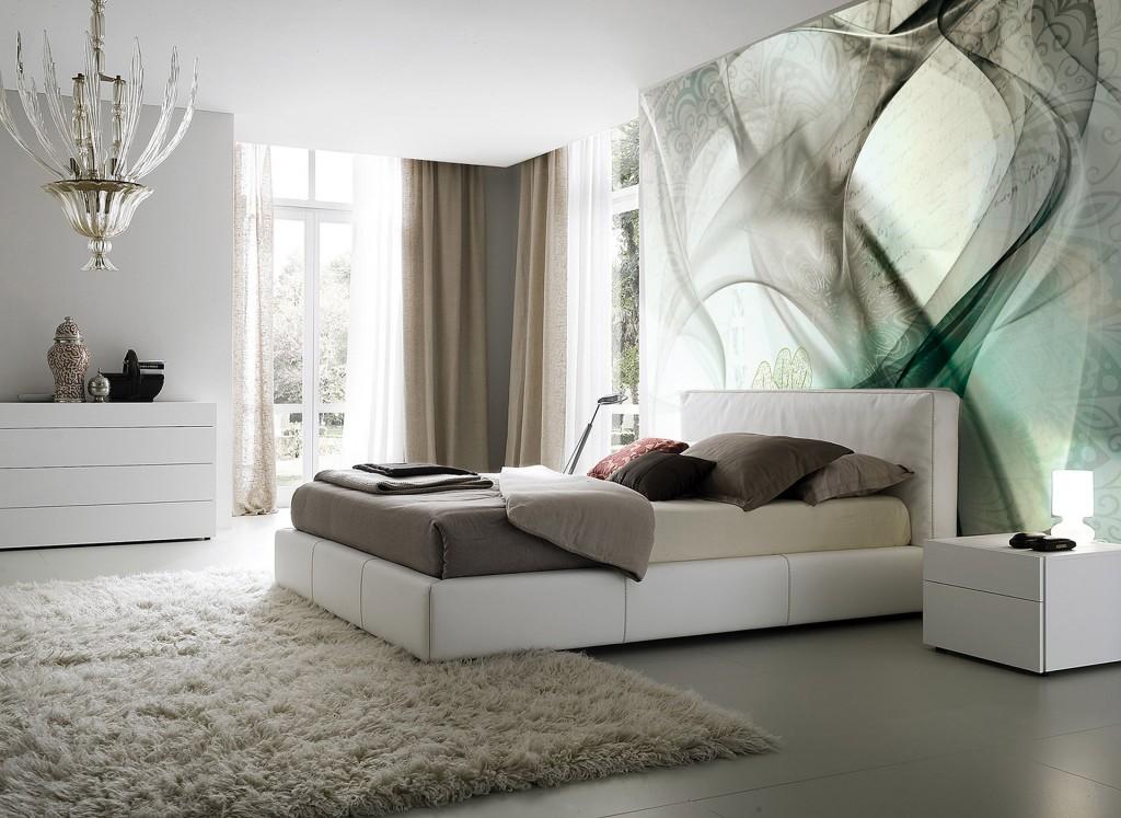 carta-parati-moderna-onde-foglie-stilizzate-verde-grigio-camera-letto