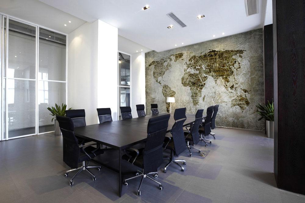 carta-parati-mappamondo-stile-industriale-muro-rovinato-verde-beige-sala-riunioni