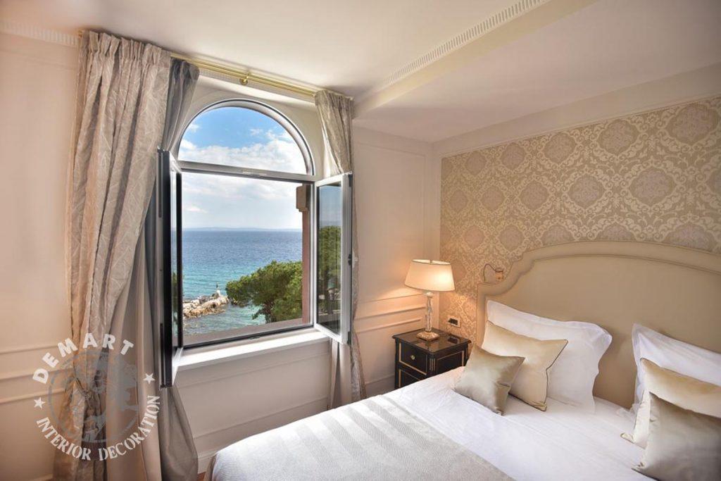 Decorazione salone e camere da letto per hotel millennium for Camere croazia