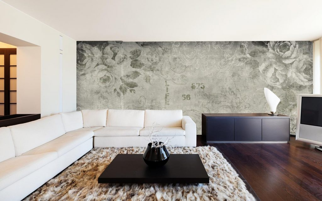 carta-parati-stile-industriale-floreale-carboncino-soggiorno