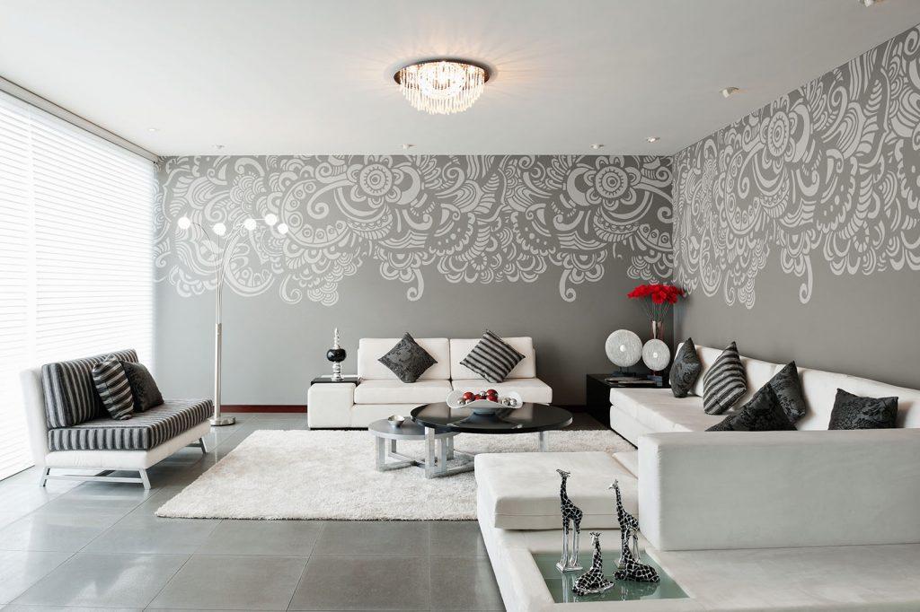 carta-parati-foglie-bianche-stilizzate-sfondo-grigio-soggiorno