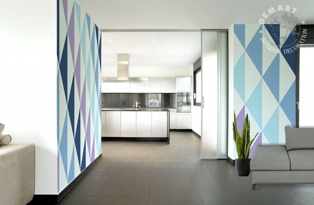 carta-parati-geometrica-triangoli-cucina-soggiorno