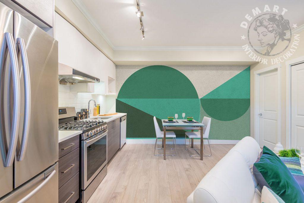 carta-parati-geometrica-cerchi-verde-cucina-soggiorno