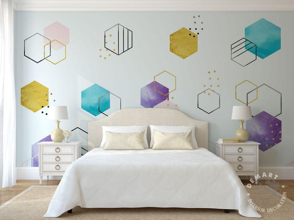 carta-parati-moderna-geometrica-esagoni-camera-letto