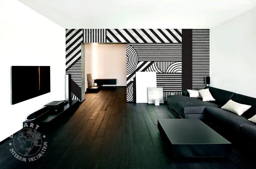 carta-parati-geometrica-strisce-linee-cerchi-bianca-nera-soggiorno