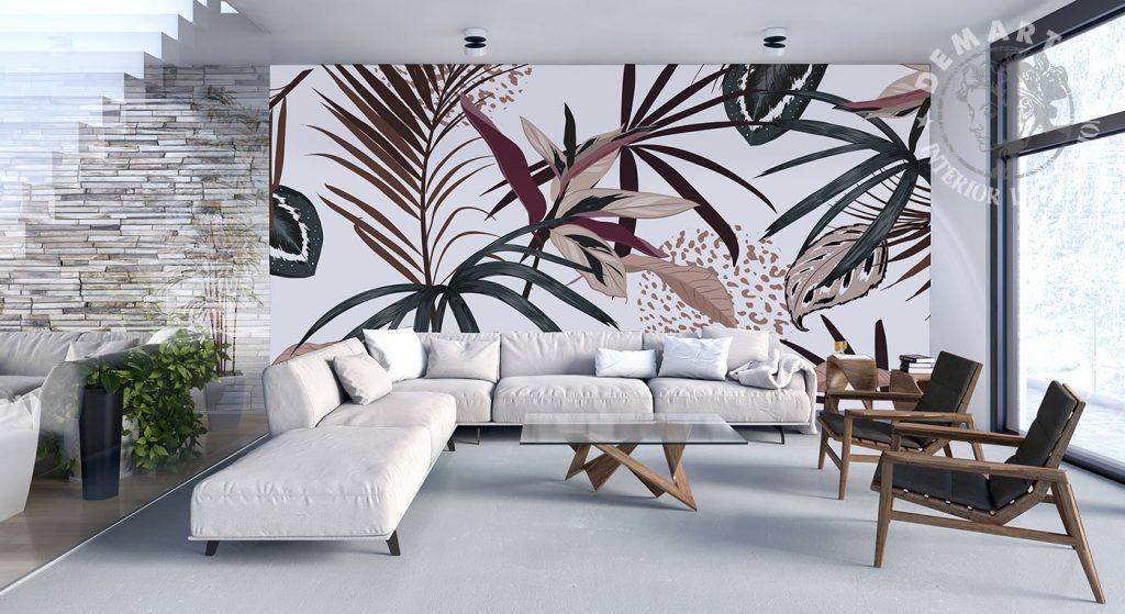 carta-parati-piante-verde-marrone-sfondo-chiaro-soggiorno