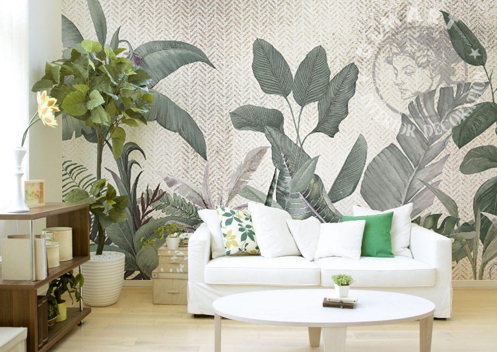 carta-parati-grandi-foglie-verdi-sfondo-beige