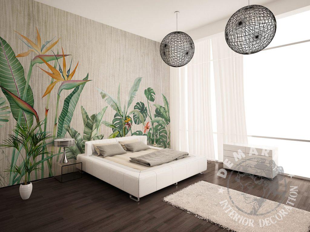 carta-parati-foglie-verdi-arancio-sfondo-beige-strisce-verticali
