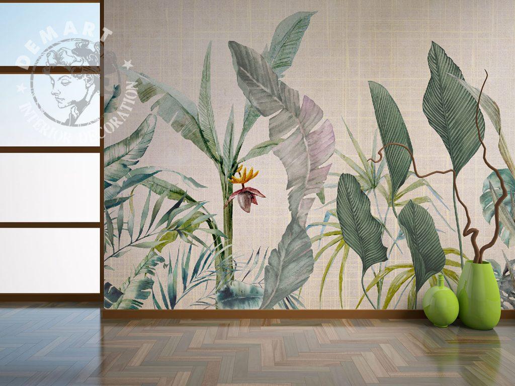 carta-parati-piante-sfondo-beige-grigliato