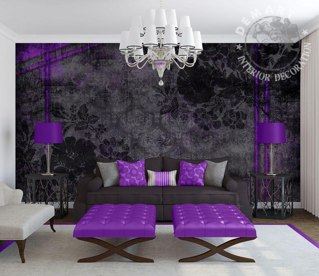carta-parati-moderna-soggiorno-natura-scura-viola-nero