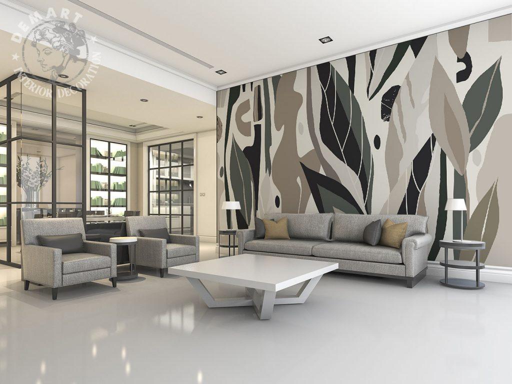 carta-parati-vettoriale-natura-verde-beige-sfondo-chiaro-soggiorno