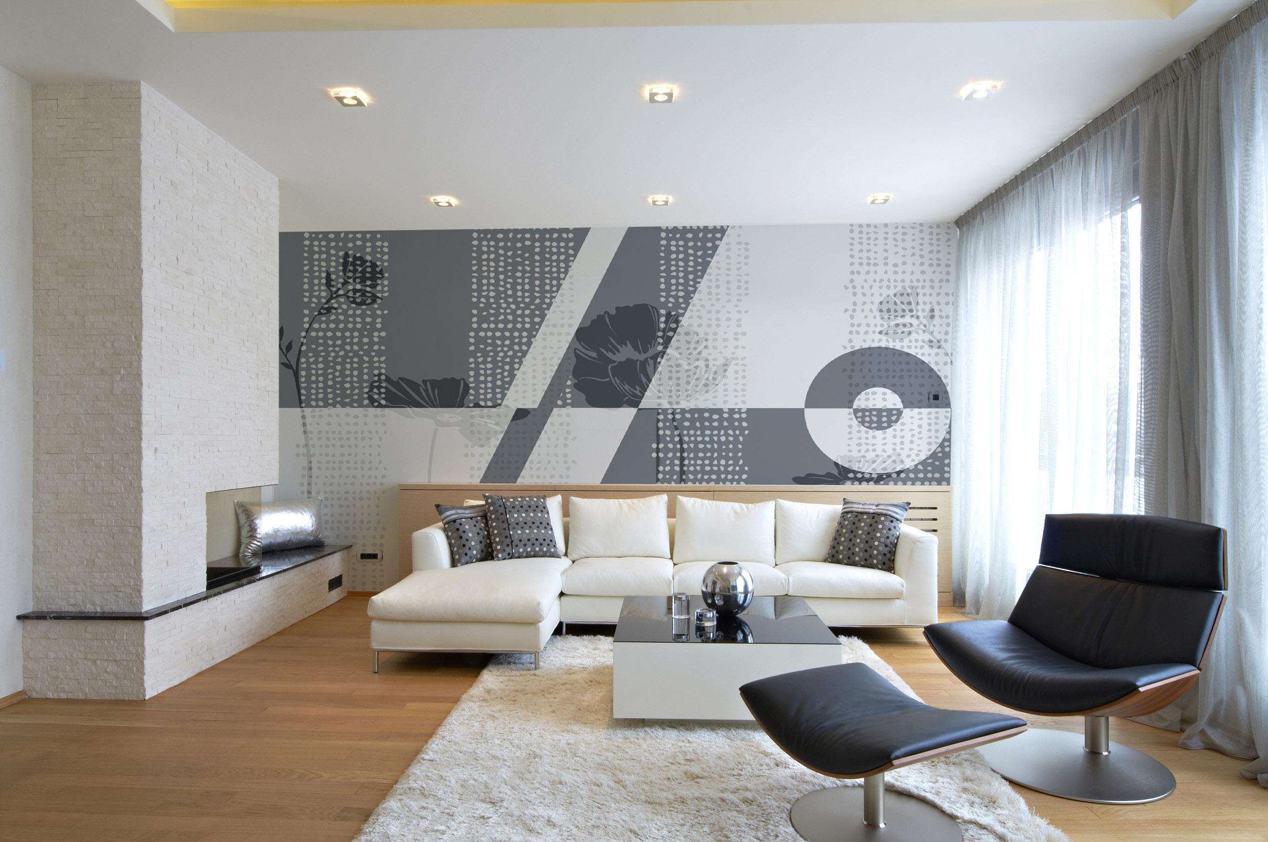 Carta parati moderna mosaico floreale per soggiorno e ...