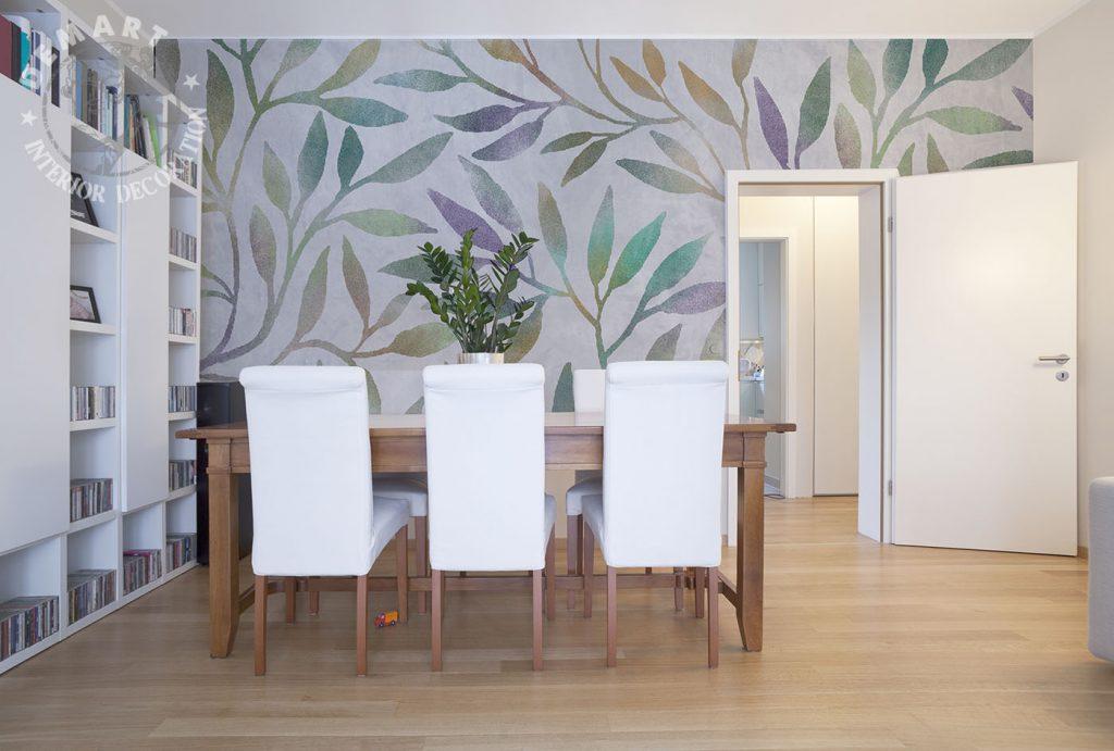 carta-parati-piante-stilizzate-colori-pastello-gradiente-sfumatura-soggiorno