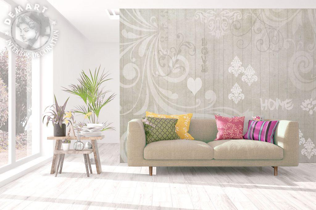 carta-parati-shabby-chic-assi-legno-sfondo-beige-decorazioni-barocco-soggiorno