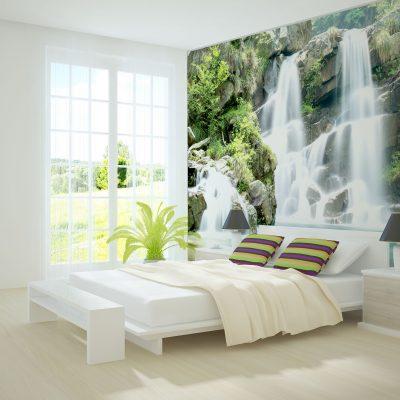 carta-parati-cascata-tropicale-camera-letto