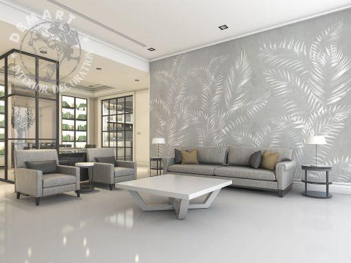 carta-parati-raffinata-felci-bianche-sfondo-grigio-soggiorno