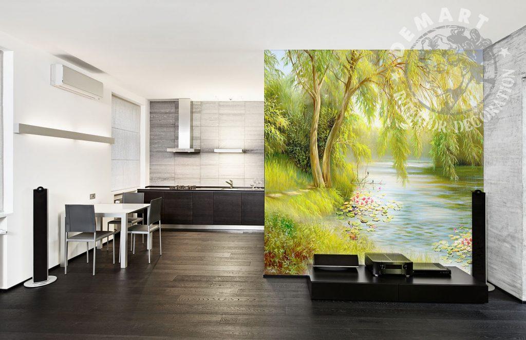 carta-parati-dipinto-natura-fiori-acqua-separe-cucina-soggiorno