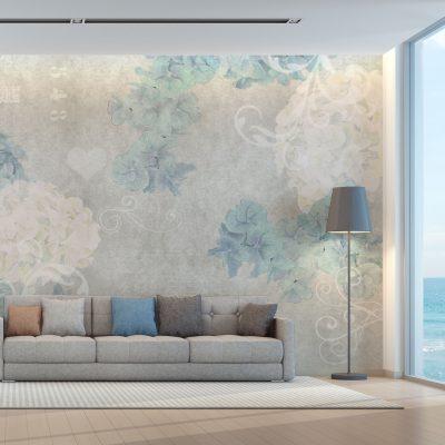 carta-parati-soggiorno-stile-industriale-fiori-giallo-verde-acqua-sfondo-grigio