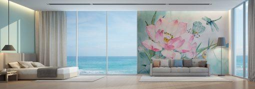 carta-parati-dipinto-rosa-grande-libellula-bluastro-camera-letto