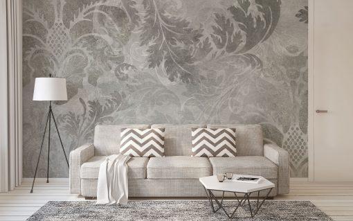 carta-parati-floreale-scala-grigi-foglie-stilizzate-soggiorno