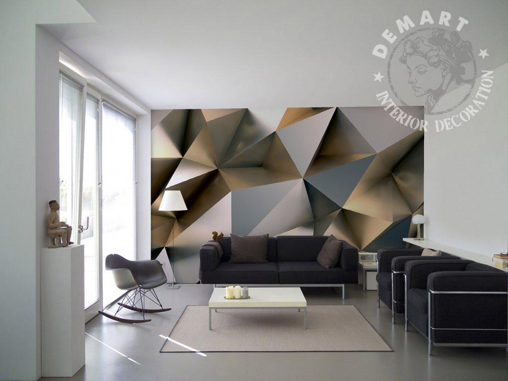carta-parati-geometrica-poligonale-superfici-lucide-effetto-metallo-soggiorno