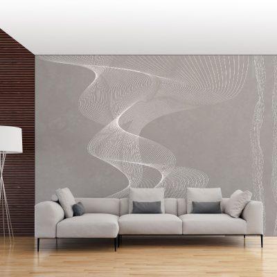 carta-parati-geometrica-spirali-fumo-tratto-bianco-sfondo-grigio-soggiorno