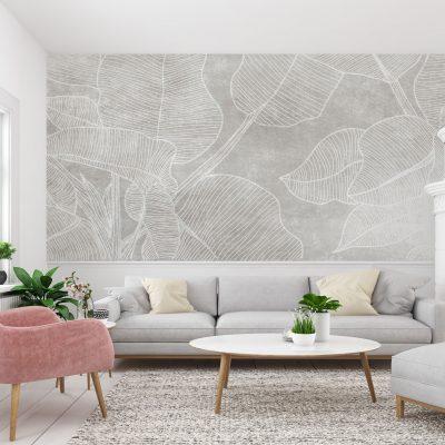 soggiorno-carta-parati-raffinata-foglie-grandi-tratto-bianco-sfondo-grigio