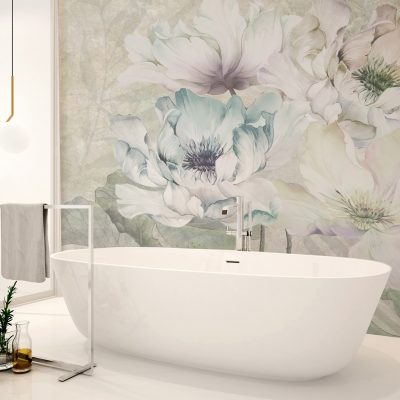 carta-parati-bagno-floreale-rose-colori-tenui-verde-turchese-beige