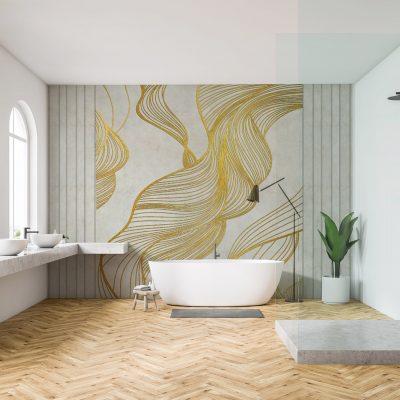 carta-parati-bagno-geometrica-spirale-metallica-fumo-oro-sfondo-beige