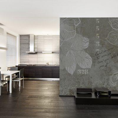carta-parati-industriale-floreale-rose-sfondo-scuro-separe-soggiorno-cucina