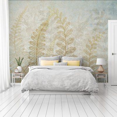 carta-parati-moderna-camera-letto-foglie-tratto-beige-sfondo-chiaro