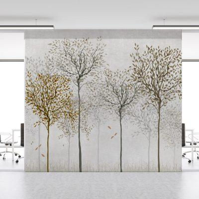 carta-parati-piante-stilizzate-foglie-beige-marrone-sfondo-chiaro