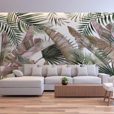 carta-parati-soggiorno-foglie-lunghe-tropicali-sfondo-chiaro