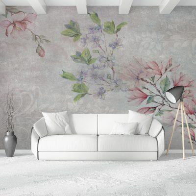 carta-parati-floreale-soggiorno-fiori-rosa-viola-sfondo-grigio