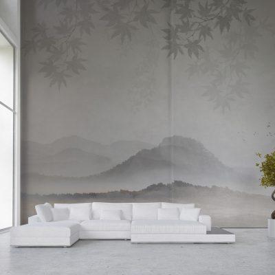 carta-parati-raffinata-vegetazione-colline-grigi-luci-soffuse-soggiorno