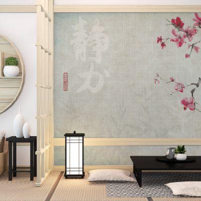 carta-parati-soggiorno-giapponese-moderno-ciliegio-sfondo-effetto-tessuto